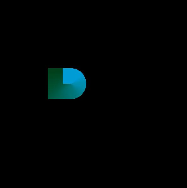 Klasterlika logotip plavi i zeleni prozirna podloga tekst desno